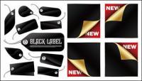 Autocollants et étiquettes noirs vecteur matériel