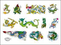 Cina klasik Dragon sembilan vektor bahan