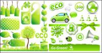 Material de vetor de ícone de baixo teor de carbono verde tema