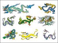 Material de vector de dragón chino clásico de dos