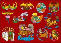 12 Chinese Folk glücksverheißenden Muster Vektor