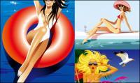 Векторные девушки приморский курорт