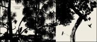 รูปเงาดำเวกเตอร์ของต้นไม้