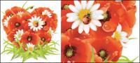Fleurs et composition matérielle de vecteur en forme de cœur