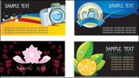Vector de plantilla de tarjeta de tema de material de plantas de flores