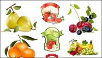 ชุดรูปแบบเวกเตอร์ผลไม้และผัก