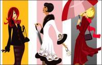 Personajes femeninos de moda de vectores