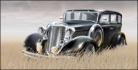 Material de hierba en el vector de coche antiguo