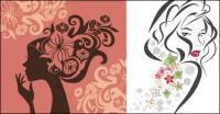 花のベクトル女性のプロファイル