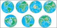 Vecteur de différents angles de la terre.