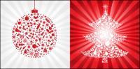 Red Christmas Ball mit Weihnachtsbaum - Vektor-material