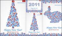 Modèles spéciaux pour Noël et un vecteur de 2011 Happy New Year