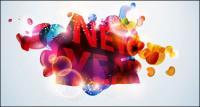 nuevo; año;Vector de palabra tridimensional