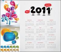 3 2011 bonito calendário Vector