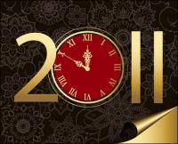 2011 часы шаблон векторного материала