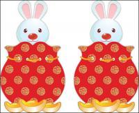 Новый год кролика векторного материала