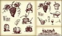 Вино векторного рисования линий