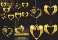Gold Heart-shaped Anhänger Vektor
