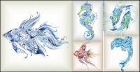 繊細な海洋生物のパターン ベクトル