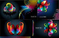 Pola-pola berwarna-warni dan baris vektor bahan