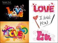 रंगीन प्यार पैटर्न वेक्टर सामग्री