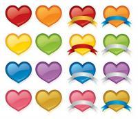 Material de vetor de ícone cor pêssego cristal coração