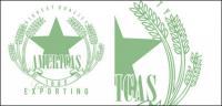 Vecteur de badges de blé vert