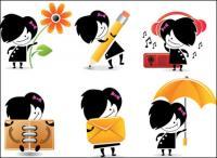 Ícones de caráter bonito cartoon - vector material