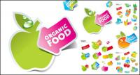 ملصقات لطيف من الفواكه والخضروات متجه