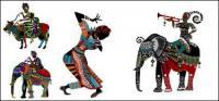 Costumbres étnicas fina serie II Vector de pintura decorativa