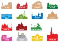 世界の有名なシルエット市 01 - ベクターの構築