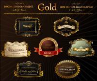 rótulo ornado ouro Vector