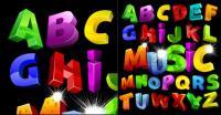 Alphabet coloré vectoriel tridimensionnel