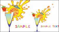 Стекло и фруктовые соки высокой мультфильм 04 - вектор