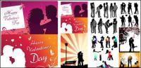 Vecteur de silhouette amant romantique