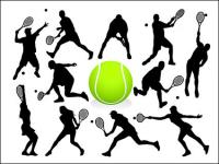 Tennis action figures silhouette vecteur