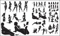 Donne sexy silhouettes vector materiale