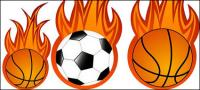Vecteur de flamme de football et le basket-ball