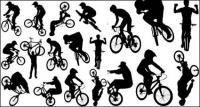 वेक्टर लोग silhouette साइकिल चालन के खेल