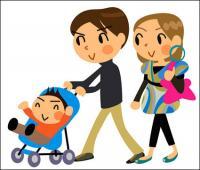Kartun keluarga dari tiga - vektor
