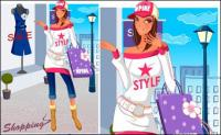 mujer compra material de moda