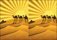 รูปเงาดำของทะเลทรายทองที่อูฐเวกเตอร์