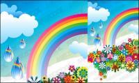 Flores coloridas de arco-íris