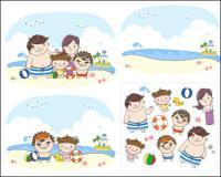 Família à praia para jogar Vector