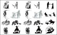 흑백 그림 카우보이 시리즈 1-벡터 자료