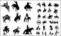 흑백 그림 카우보이 시리즈 2 벡터 소재