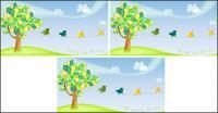 Material de vetor de árvores adoráveis cantando ave