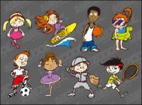 Esportes cartoon caractere vector material