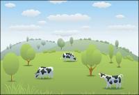vaca pasto Vector