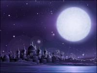 Antiga; cidade; menor; completo; material de vetor da Lua